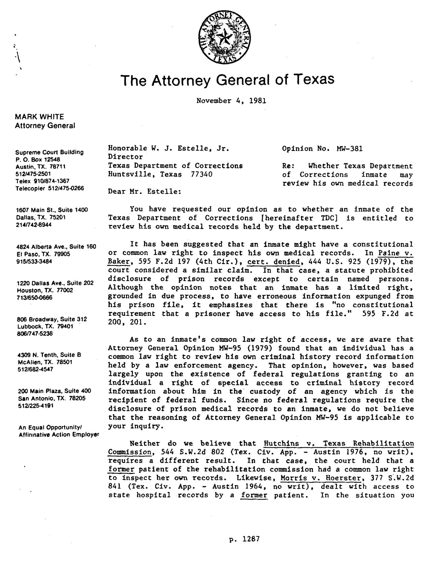 Texas Attorney General Opinion: MW-381                                                                                                      [Sequence #]: 1 of 5
