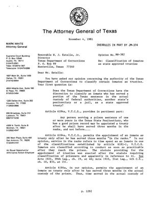 Primary view of object titled 'Texas Attorney General Opinion: MW-382'.