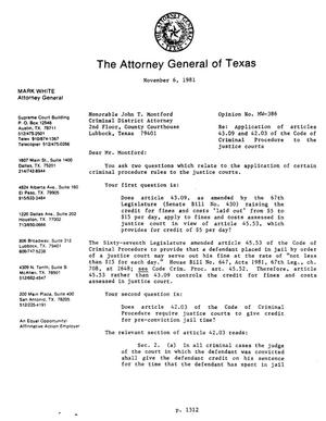Primary view of object titled 'Texas Attorney General Opinion: MW-386'.