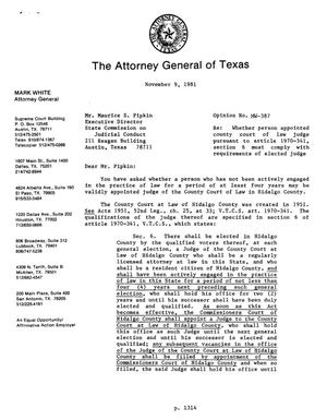 Primary view of object titled 'Texas Attorney General Opinion: MW-387'.