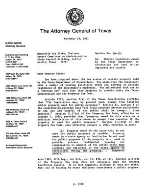 Primary view of object titled 'Texas Attorney General Opinion: MW-391'.