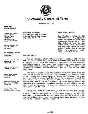 Primary view of object titled 'Texas Attorney General Opinion: MW-394'.