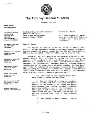 Primary view of object titled 'Texas Attorney General Opinion: MW-400'.