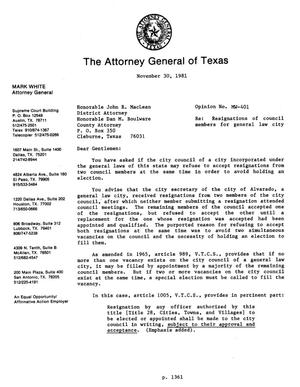 Primary view of object titled 'Texas Attorney General Opinion: MW-401'.