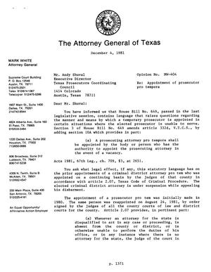 Primary view of object titled 'Texas Attorney General Opinion: MW-404'.