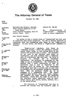 Primary view of object titled 'Texas Attorney General Opinion: MW-407'.
