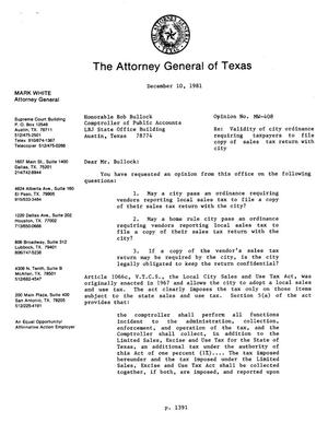 Primary view of object titled 'Texas Attorney General Opinion: MW-408'.