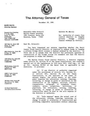 Primary view of object titled 'Texas Attorney General Opinion: MW-412'.