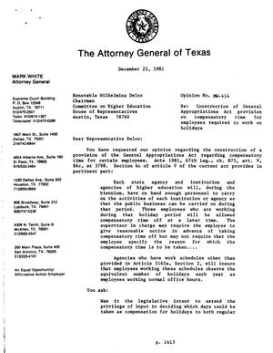 Primary view of object titled 'Texas Attorney General Opinion: MW-414'.
