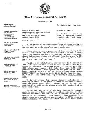 Primary view of object titled 'Texas Attorney General Opinion: MW-415'.