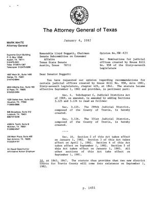 Texas Attorney General Opinion: MW-420