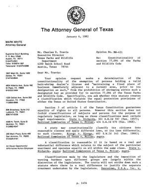 Primary view of object titled 'Texas Attorney General Opinion: MW-421'.