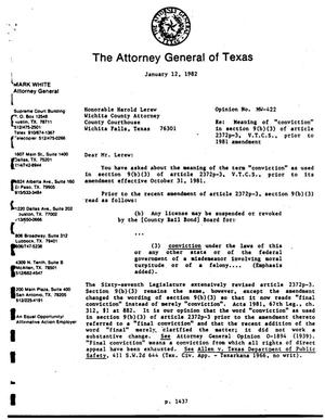 Texas Attorney General Opinion: MW-422