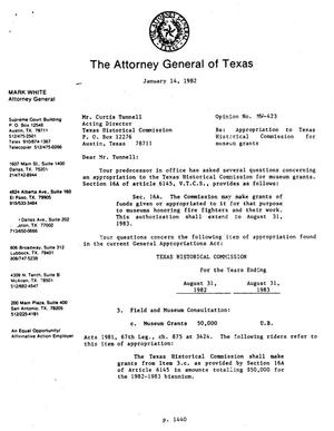 Texas Attorney General Opinion: MW-423