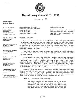 Primary view of object titled 'Texas Attorney General Opinion: MW-424'.