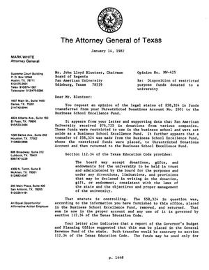 Texas Attorney General Opinion: MW-425