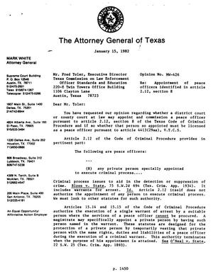 Texas Attorney General Opinion: MW-426
