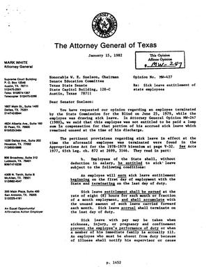 Texas Attorney General Opinion: MW-427