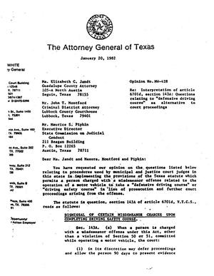 Primary view of object titled 'Texas Attorney General Opinion: MW-428'.
