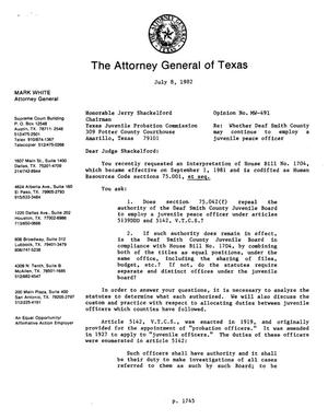 Primary view of object titled 'Texas Attorney General Opinion: MW-491'.