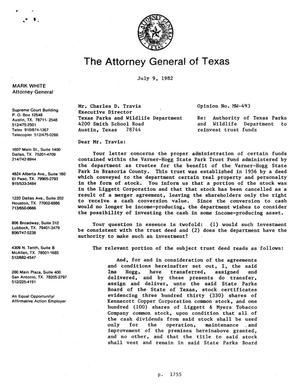 Primary view of object titled 'Texas Attorney General Opinion: MW-493'.