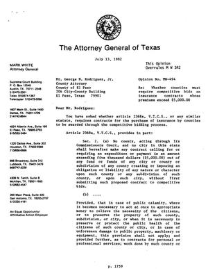 Primary view of object titled 'Texas Attorney General Opinion: MW-494'.