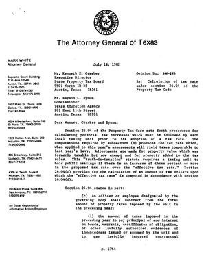 Primary view of object titled 'Texas Attorney General Opinion: MW-495'.