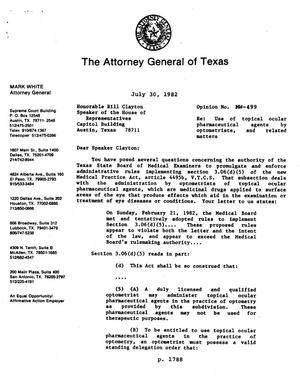 Primary view of object titled 'Texas Attorney General Opinion: MW-499'.