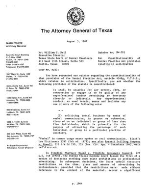 Primary view of object titled 'Texas Attorney General Opinion: MW-501'.