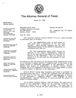 Primary view of object titled 'Texas Attorney General Opinion: MW-509'.