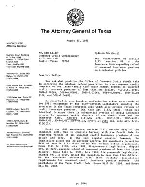 Primary view of object titled 'Texas Attorney General Opinion: MW-511'.