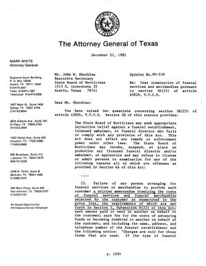 Primary view of object titled 'Texas Attorney General Opinion: MW-539'.