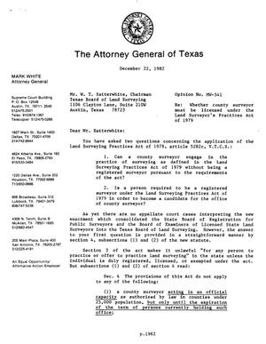 Primary view of object titled 'Texas Attorney General Opinion: MW-541'.