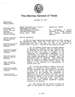 Primary view of object titled 'Texas Attorney General Opinion: MW-544'.