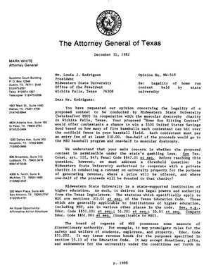 Primary view of object titled 'Texas Attorney General Opinion: MW-549'.