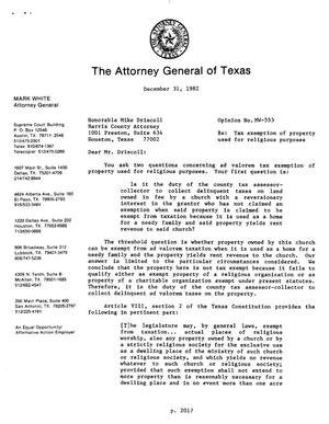 Primary view of object titled 'Texas Attorney General Opinion: MW-553'.