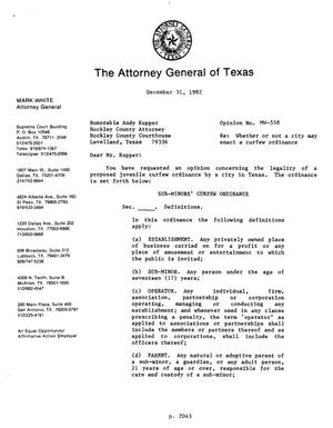 Primary view of object titled 'Texas Attorney General Opinion: MW-558'.