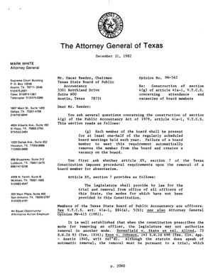 Primary view of object titled 'Texas Attorney General Opinion: MW-562'.