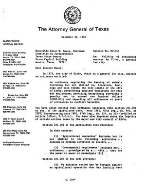 Primary view of object titled 'Texas Attorney General Opinion: MW-563'.