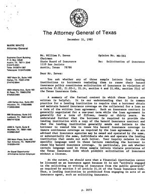 Primary view of object titled 'Texas Attorney General Opinion: MW-564'.