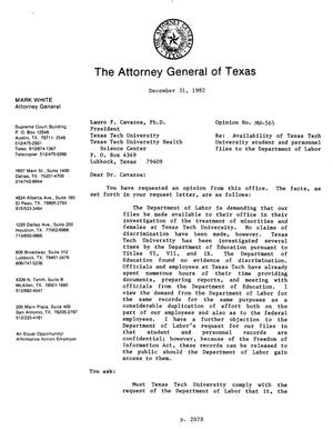 Primary view of object titled 'Texas Attorney General Opinion: MW-565'.