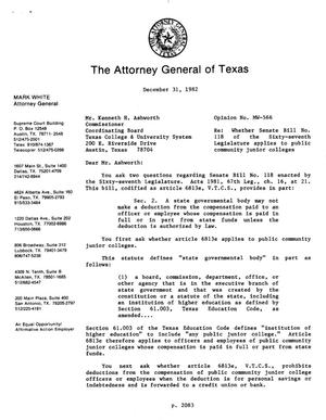 Primary view of object titled 'Texas Attorney General Opinion: MW-566'.