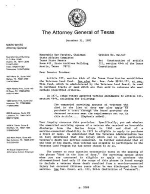Primary view of object titled 'Texas Attorney General Opinion: MW-567'.