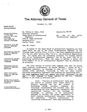 Primary view of object titled 'Texas Attorney General Opinion: MW-568'.