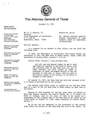 Primary view of object titled 'Texas Attorney General Opinion: MW-571'.