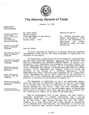 Primary view of object titled 'Texas Attorney General Opinion: MW-575'.