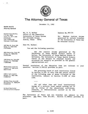 Primary view of object titled 'Texas Attorney General Opinion: MW-576'.