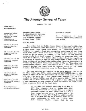 Primary view of object titled 'Texas Attorney General Opinion: MW-582'.