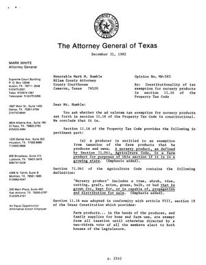 Primary view of object titled 'Texas Attorney General Opinion: MW-583'.