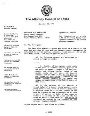 Primary view of object titled 'Texas Attorney General Opinion: MW-589'.